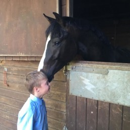 Raviro at stable door with child